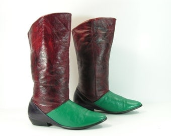 vintage slouch boots womens 6 B green burgundy navy blue leather fashion pirate