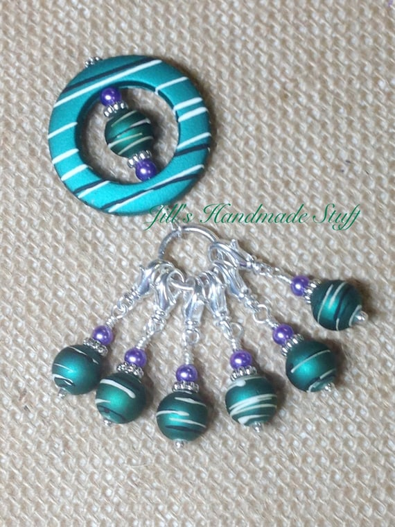 Crochet Stitch Marker Ring Holder & Snag Free Beaded Stitch markers ...