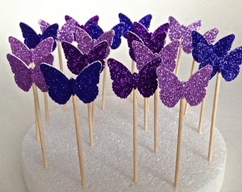 24 Mixed Purple Glitter Butterfly Toppers - Picks