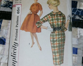"""Vintage 1960s Simplicity Pattern 3718 Misses Dress with Two Skirts, Size 16, Bust 36"""""""