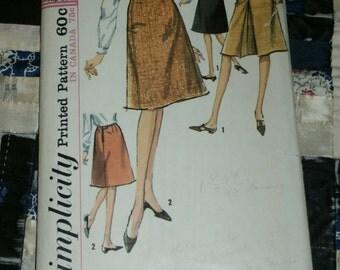 "Vintage 1965 Simplicity Pattern 6091 for Misses Set of Skirts Waist 25"", Hip 34"""
