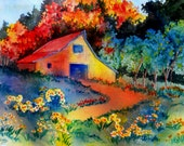 Colorful Country Barn Watercolor Painting by Colorado Artist Martha Kisling