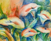 Watercolor Collage Calla Lily White Flower Music Stamp by Martha Kisling