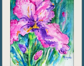 Impressionistic Large Pink Iris  on Gesso by Watercolor Artist Martha Kisling