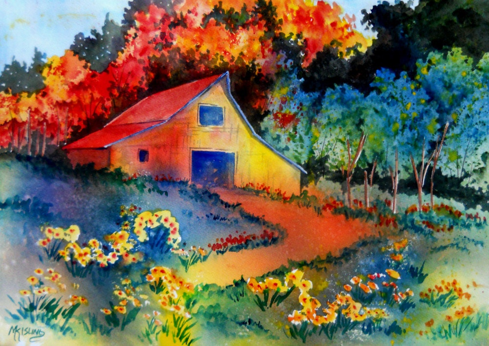 Colorful country barn watercolor painting by colorado artist for Watercolor barn paintings