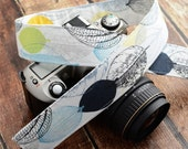 Camera Strap - Camera Neck Strap - Winter Leaves in Blues and Yellows - Gifts for Women - dSLR Camera Strap