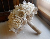 Rustic Shabby Chic Bouquet, Sola Flowers, Burlap, Lace, Rustic Shabby Chic Weddings. Made to Order.