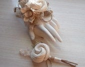 Wrist Corsage and/or Boutonniere, Sola Flowers, Burlap & Lace, Rustic, Country, Woodland, Corsage, Boutonniere. Made to Order.