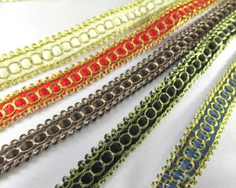 Ivory Gold, Red Gold, Black Gold, Brown Bronze or Teal Gold Half Inch 10mm Flat Metallic Look Woven Braid trim sold by the yard