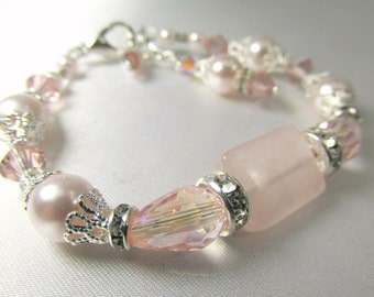 Vintage Pink Pale Blush Pearl, Rose Quartz, Crystal and Silver Bracelet with adjustable clasp