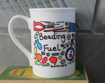 Beading fuel mug fine bone china gift boxed with a miniature sewing kit tag