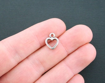 BULK 75 Small Heart Charms Antique Silver Tone 2 sided charm - SC1234