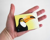 Toucan painting, exotic bird, miniature tropical bird art, original on mini canvas