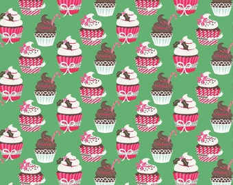 Christmas Fabric by the Yard Holiday Cupcakes in Green Blend Fabrics Josephine Kimberling One Yard