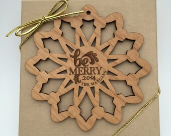 Personalized Christmas Ornament, Custom Wood Laser Engraved Snowflake, Be Merry Family Ornament, Wood Snowflake Ornament, X-Mas 2016