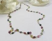 925 Sterling & Tourmaline Gemstone Necklace, Delicate Dainty Simple Handmade Multicolour Tourmaline Sterling Necklace, Layering Necklace