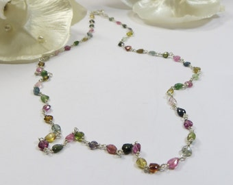 925 Sterling & Tourmaline Gemstone Necklace, Delicate Dainty Simple Handmade Multicolour Tourmaline Sterling Necklace, Layering Necklace