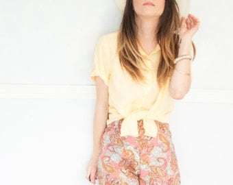 yellow vintage button up summer top