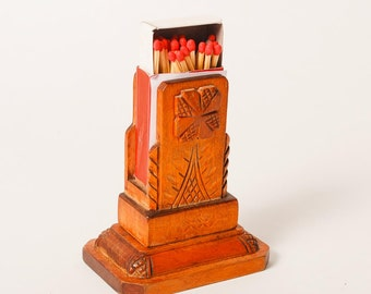 Vintage hand carved wooden matches box holder, ethnic style pattern