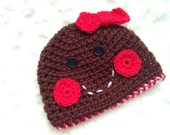 Gingerbread Girl Hat.... Ready to ship size 0 to 3 months- Beanie-Photography prop
