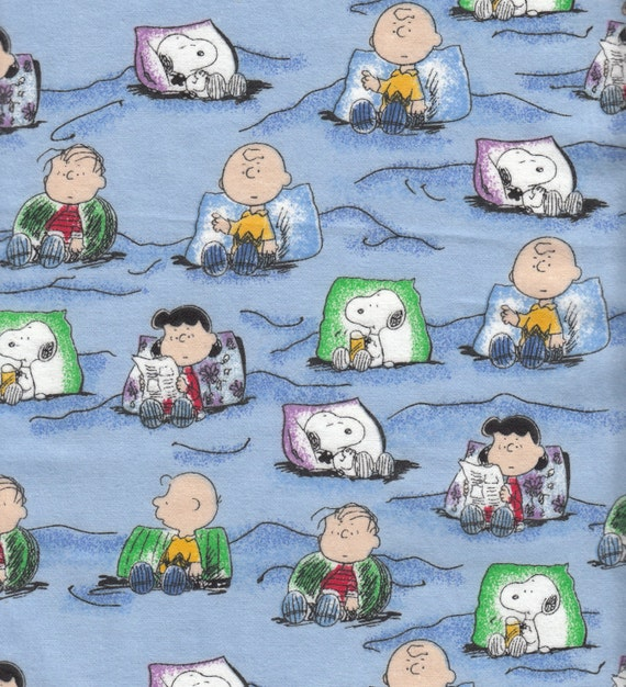 Eustheelf Peanuts Flannel Pillows Bed Sleeping Blue Snoopy Destash Cotton Quilt Fabric 1/2 yard 65