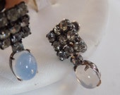 Vintage earrings, signed Jay-Flex Sterling crystal and moonstone drop earrings, screw back earrings,