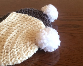 Charcoal and Cream Crocheted PomPom Baby Beanie