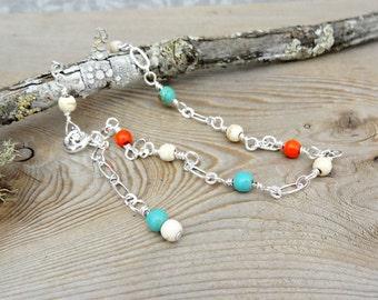 Gemstone Anklet, Feminine Aqua Orange Howlite Beaded Anklet, Dainty Ankle Bracelet, Summer Jewelry for Her