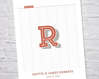 Wedding Guest Book Alternative, Custom Art Print // BOLD MONOGRAM