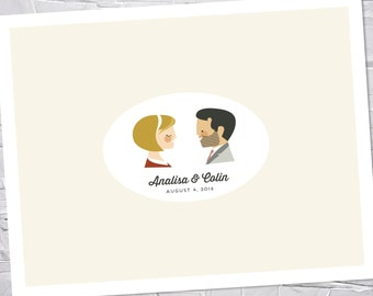 Wedding Guest Book Alternative, Art Print, Custom Couple Portrait // WEDDED BLISS