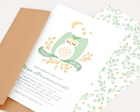 Owl Baby Shower Invitation, Woodland Baby Shower Invitation, Gender Neutral // DROWSY OWL