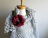 Grey  Shawl,  Large Triangle Shawl By Crochetlab Gift for Mom, Ready To Ship, Gift for Her