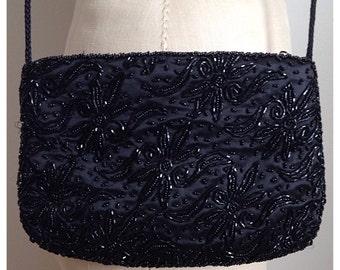 Vintage black beaded sequins purse