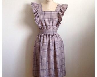 Vintage Lavender Grey Gingham PRARIE Dress