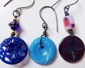 Blue Vintage Button Earrings