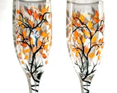 Fall Leaves Fall Trees Autumn Handpainted Champagne Flutes Fall is in the Air Hand Painted Set of 2   Fall Wedding,  Free Personalization