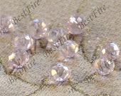 20 beads 6x8 mm pink Faceted Abacus A Glass Crystal Beads clear Color,  Abacus Crystal Glass  loose beads