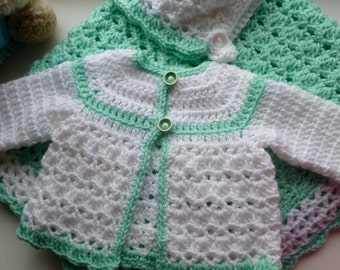 Crochet Baby Sweater, Bonnet & Large Blanket In White And Mint Green. Perfect For Baby Shower Gift.
