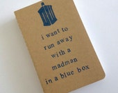 madman in a blue box - hand stamped moleskine notebook pocket size
