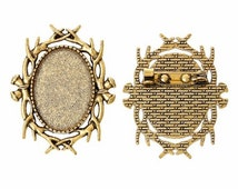25x18mm Antique Gold Cameo Brooch Setting with Pin Back jewelry findings 747x