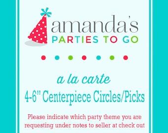 "4-6"" Centerpiece Circles or Centerpiece Picks   Printable A la Carte Party Single   Amanda's Parties To Go"
