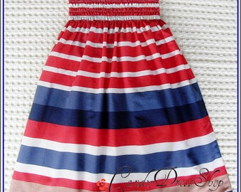 Little Girls Long Dress, Patriotic Girl maxi dress, 4th of July dress, Girls Memorial Day Dress, halter neck, (Sizes 2,3,4,5,6,7 years)