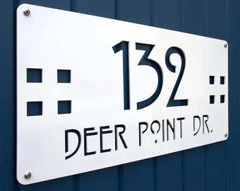 CUSTOM Mission Style Deluxe Address Sign Powder Coated Aluminum
