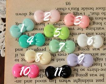 20pcs  Choose Color  Beautiful  Colorful  bowknot  Resin Cabochon -11colors- 20x11mm(CAB-CDB-MIXSS)