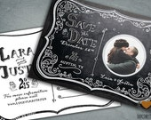 Chalkboard Moonlight Engagement Party Postcard by Luckyladypaper - CUSTOM CARD ORDER