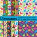 Dinosaur Digital Papers, Dinosaur Scrapbook Papers, Dinosaur Background Patterns - Commercial and Personal Use