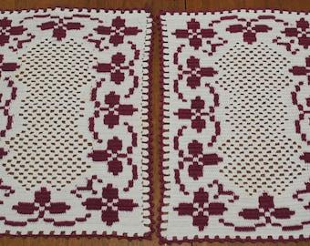 Crochet Doilies Handmade Pair White and Burgundy Cottage Chic
