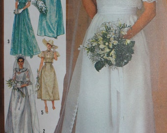 Vintage Wedding Dress Pattern Simplicity 6405 Size 12