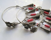 Reserved - Vintage Moroccan Berber Earrings - Silver with Beads and Dangles