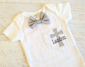Personalized White Seersucker Baptism, Christening, and Dedication Bodysuit with Matching Removable Bow Tie